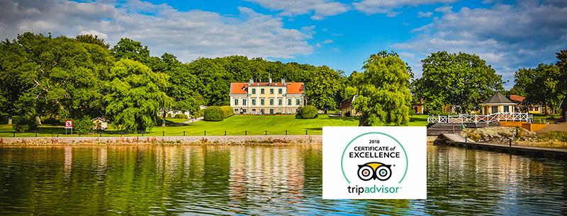 Krägga Herrgård har utmärkelsen TripAdvisor® Certificate of Excellence 2018